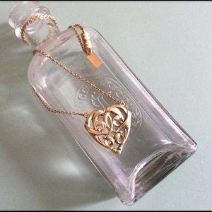 "1928  Necklace VintageVictorian💖FiligreeHeart 18"""